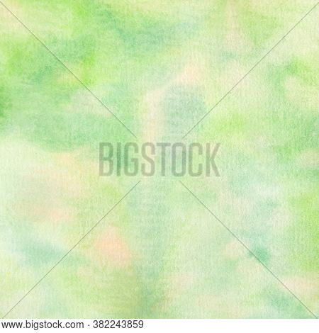 Green Watercolor Pattern In Various Shades Of Green For Backgrounds.  12x12 Design Element Hand Pain