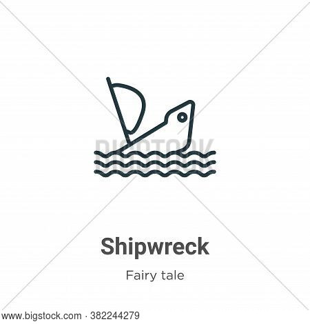 Shipwreck Icon From Fairy Tale Collection Isolated On White Background.