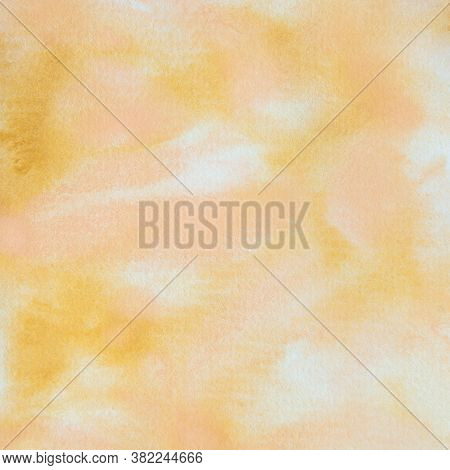 Yellow And Peach Abstract Watercolor Background.  Handpainted 12x12 Digital Paper For Design Element