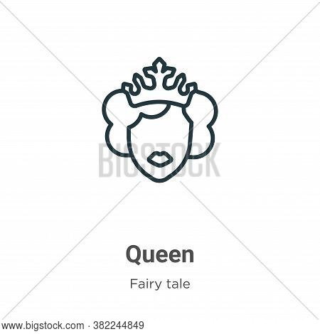 Queen icon isolated on white background from fairy tale collection. Queen icon trendy and modern Que