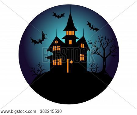Halloween Mansion With Bats Silhouette - Vector Round Illustration. Illustration For The Holiday Hal