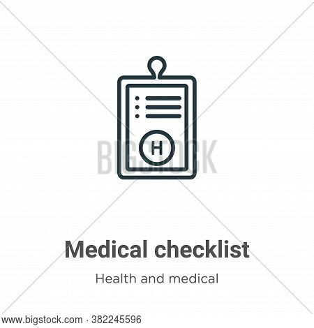 Medical checklist icon isolated on white background from health and medical collection. Medical chec