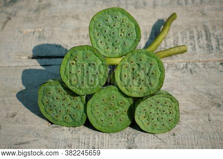 Indian Lotus Pods Or Nelumbo Nucifera Pods On Wooden Surface