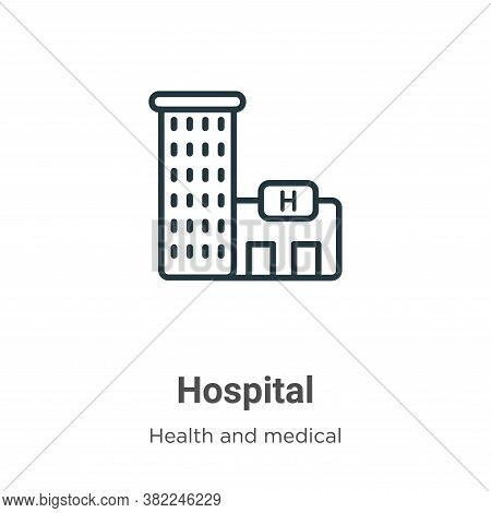Hospital icon isolated on white background from health and medical collection. Hospital icon trendy