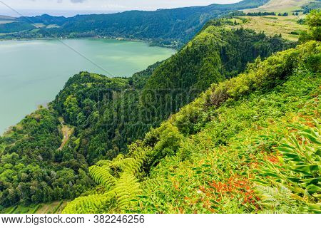 View of the Lake Furnas (Lagoa das Furnas) on Sao Miguel Island, Azores, Portugal from the Pico do Ferro scenic viewpoint.