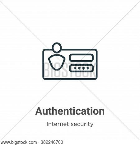 Authentication icon isolated on white background from internet security collection. Authentication i