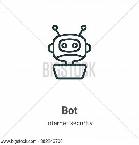 Bot icon isolated on white background from internet security collection. Bot icon trendy and modern