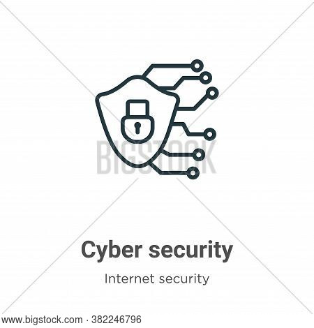 Cyber security icon isolated on white background from internet security collection. Cyber security i