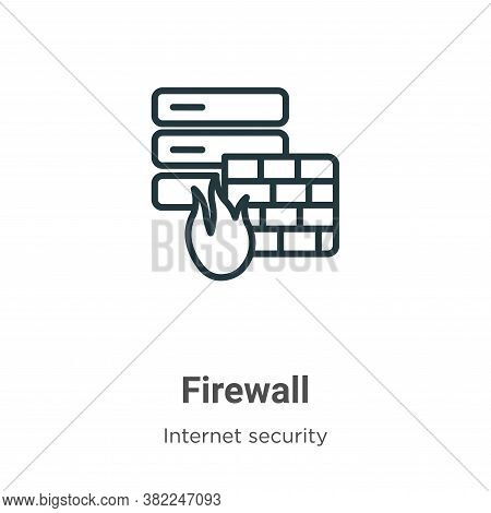 Firewall icon isolated on white background from internet security collection. Firewall icon trendy a
