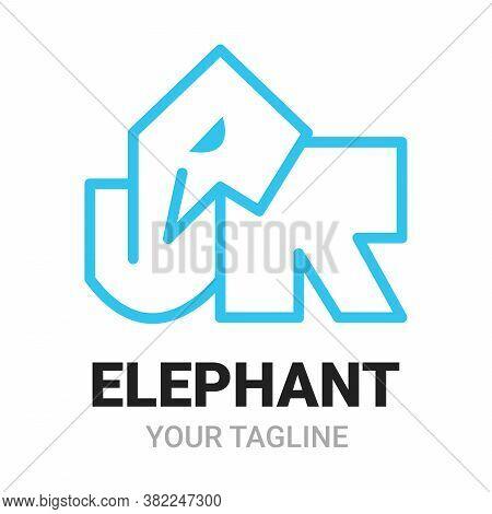 Elephant J, R (junior) Alphabets Shape Logo, Icon, Symbol Or Emblem Template. Abstract Linear Style