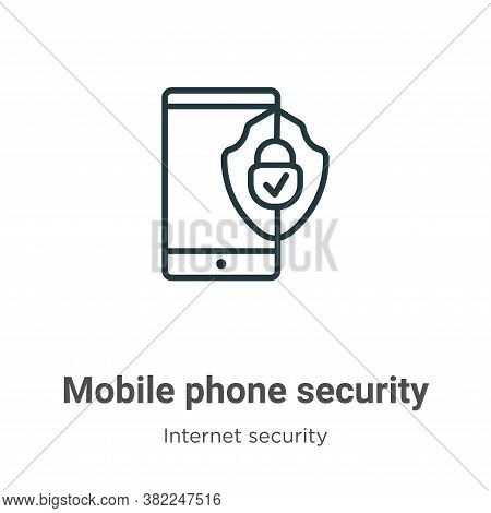 Mobile phone security icon isolated on white background from internet security collection. Mobile ph