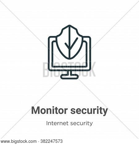 Monitor security icon isolated on white background from internet security collection. Monitor securi