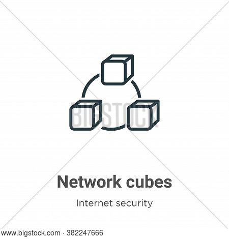 Network cubes icon isolated on white background from networking collection. Network cubes icon trend