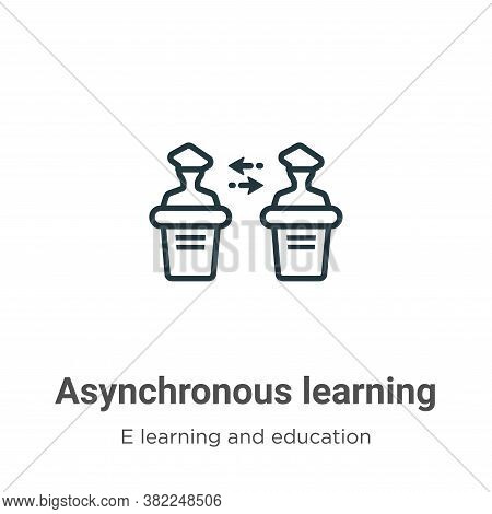 Asynchronous learning icon isolated on white background from e learning and education collection. As