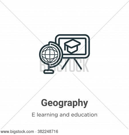 Geography icon isolated on white background from e learning and education collection. Geography icon