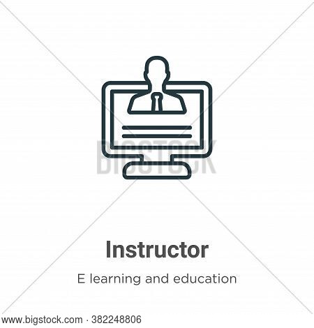 Instructor icon isolated on white background from e learning and education collection. Instructor ic