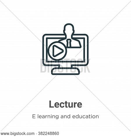 Lecture icon isolated on white background from e learning and education collection. Lecture icon tre