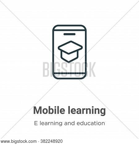 Mobile learning icon isolated on white background from e learning and education collection. Mobile l