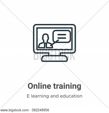 Online training icon isolated on white background from e learning and education collection. Online t