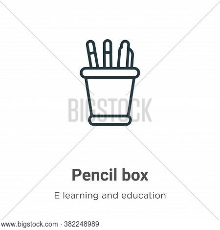 Pencil box icon isolated on white background from e learning and education collection. Pencil box ic