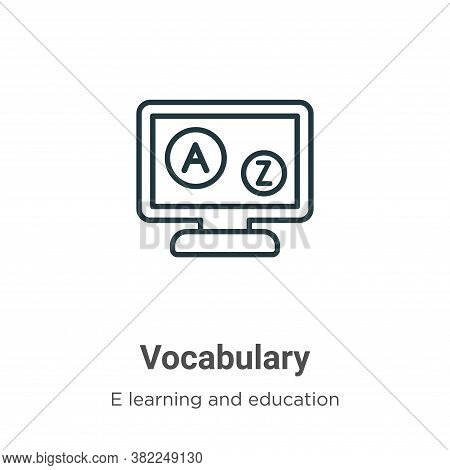 Vocabulary icon isolated on white background from e learning and education collection. Vocabulary ic