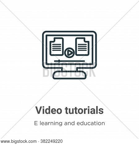 Video tutorials icon isolated on white background from e learning collection. Video tutorials icon t