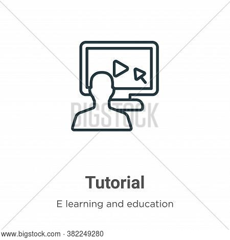 Tutorial icon isolated on white background from e learning collection. Tutorial icon trendy and mode