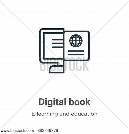 Digital book icon isolated on white background from e learning collection. Digital book icon trendy