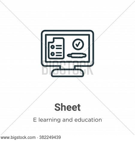 Sheet icon isolated on white background from e learning collection. Sheet icon trendy and modern She