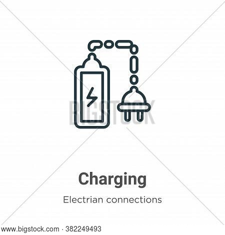 Charging icon isolated on white background from electrian connections collection. Charging icon tren
