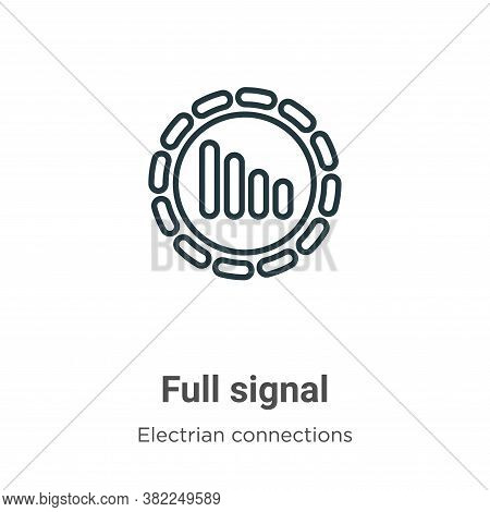 Full signal icon isolated on white background from electrian connections collection. Full signal ico