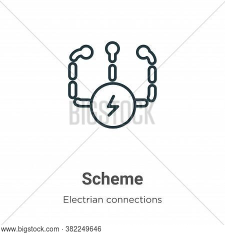 Scheme icon isolated on white background from electrian connections collection. Scheme icon trendy a