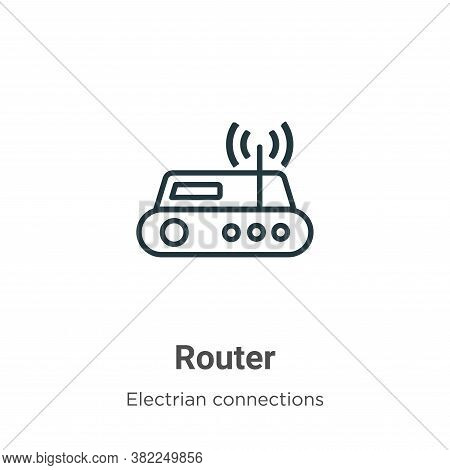 Router icon isolated on white background from electrian connections collection. Router icon trendy a