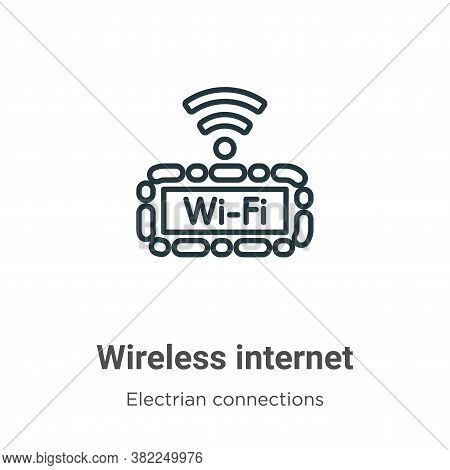 Wireless internet icon isolated on white background from electrian connections collection. Wireless