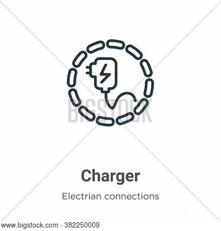 Charger icon isolated on white background from electrian connections collection. Charger icon trendy