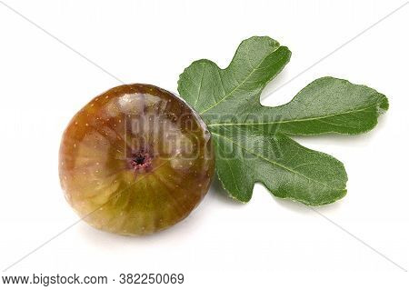 Ripe Fig Fruits With Fig Leaves Isolated On The White Background