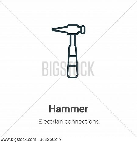 Hammer icon isolated on white background from electrian connections collection. Hammer icon trendy a