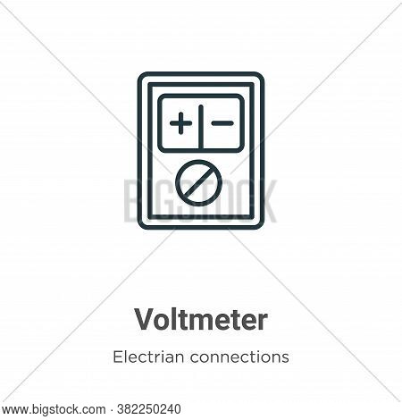 Voltmeter icon isolated on white background from electrian connections collection. Voltmeter icon tr