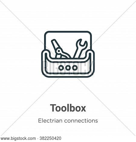 Toolbox icon isolated on white background from electrian connections collection. Toolbox icon trendy