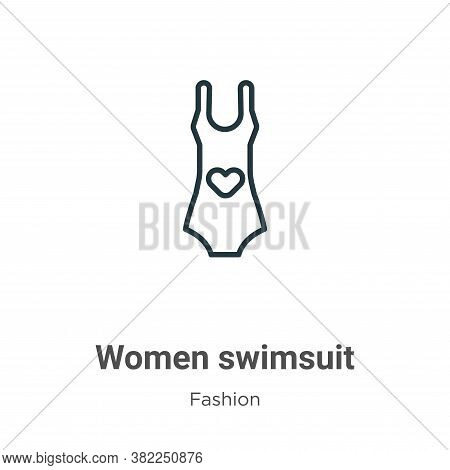 Women swimsuit icon isolated on white background from fashion collection. Women swimsuit icon trendy
