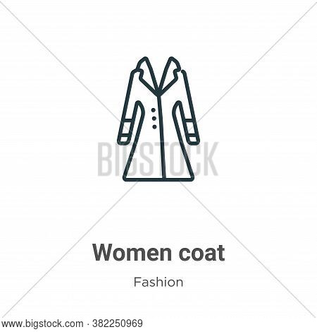 Women coat icon isolated on white background from fashion collection. Women coat icon trendy and mod