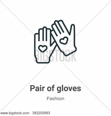 Pair of gloves icon isolated on white background from fashion collection. Pair of gloves icon trendy
