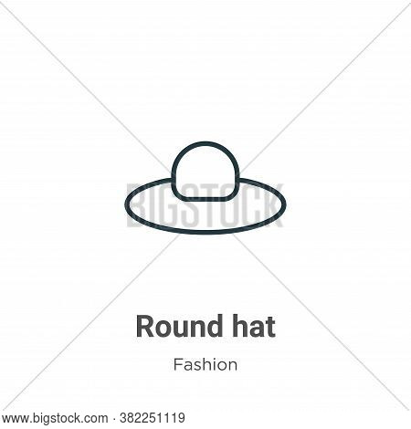 Round hat icon isolated on white background from fashion collection. Round hat icon trendy and moder