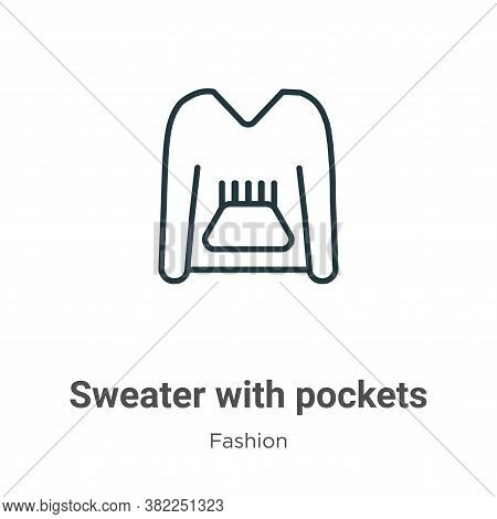 Sweater with pockets icon isolated on white background from fashion collection. Sweater with pockets