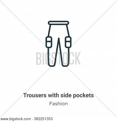 Trousers with side pockets icon isolated on white background from fashion collection. Trousers with