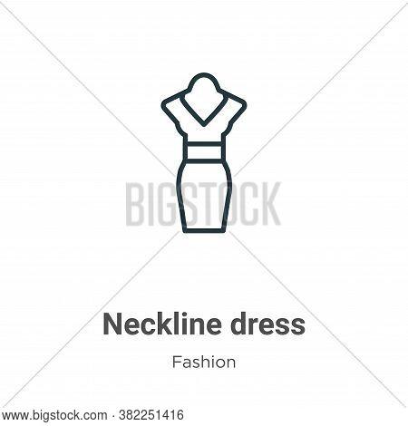 Neckline dress icon isolated on white background from fashion collection. Neckline dress icon trendy