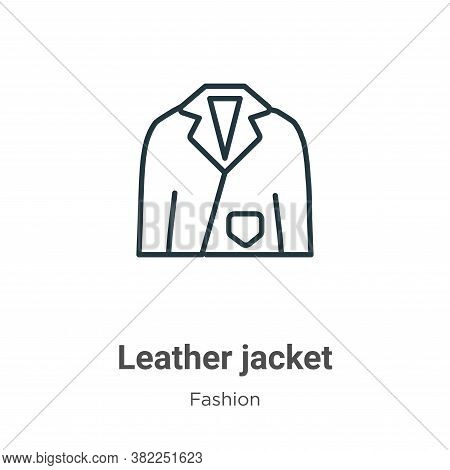 Leather jacket icon isolated on white background from fashion collection. Leather jacket icon trendy
