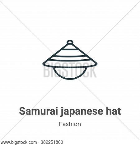 Samurai japanese hat icon isolated on white background from fashion collection. Samurai japanese hat