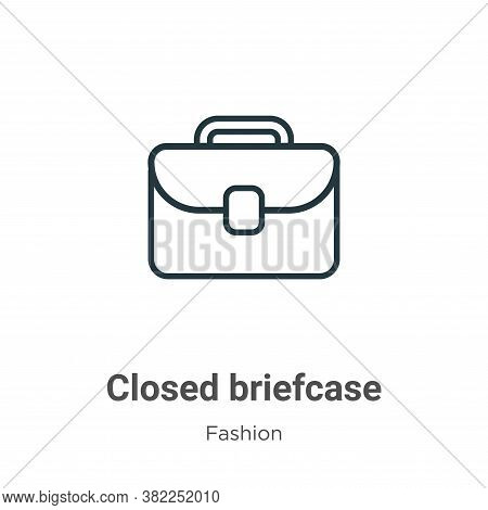 Closed briefcase icon isolated on white background from fashion collection. Closed briefcase icon tr