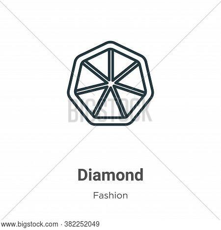 Diamond outline icon isolated on white background from fashion collection. Diamond outline icon tren